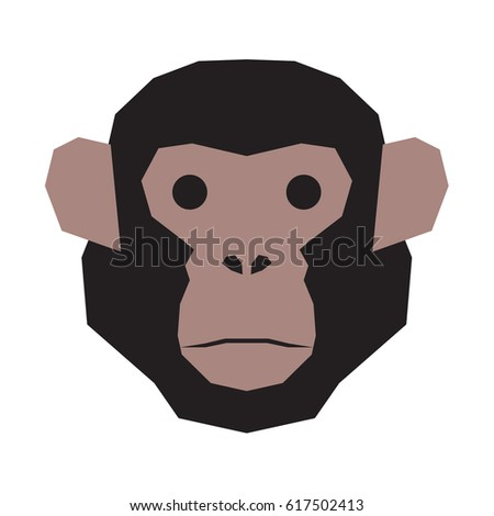 Chimpanzee head face. Monkey head.