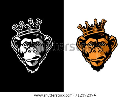 Chimpanzee Head with crown mascot logo
