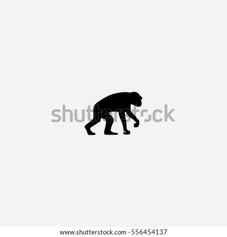Chimpanzee icon silhouette vector illustration