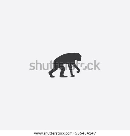 Chimpanzee icon silhouette vector illustration