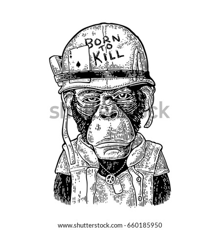 Chimpanzee monkey in soldier helmet with glasses and peace sign. Lettering Born to kill Vintage black engraving illustration for poster and t-shirt design. Isolated on white background.