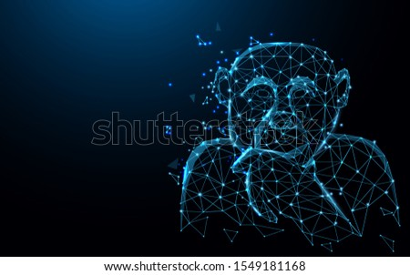 Chimpanzee posting thinking acting form lines, triangles and particle style design