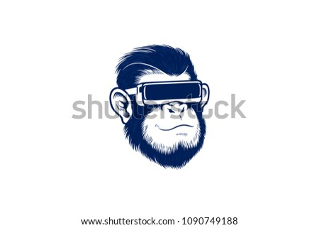 Chimpanzee with a VR Glasses