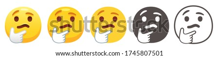 Chin thumb emoji. Thinking yellow face with furrowed eyebrows, thumb and index finger on chin. Pondering person emoticon flat vector icon set