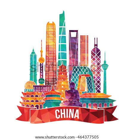 china detailed skyline vector