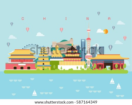 China Famous Landmarks Infographic Templates for Traveling Minimal Style and Icon, Symbol Set Vector Illustration Can be use for Poster Travel book, Postcard, Billboard.
