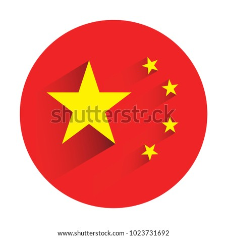 China flag in circle shape