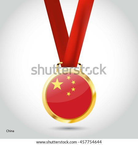 china flag in gold medal
