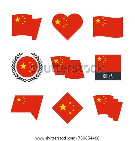 china flag vector icons and
