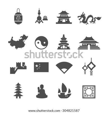 china icons set vector