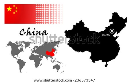 china info graphic with flag
