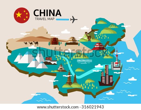 china landmark and travel map