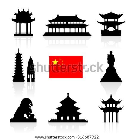 China Landmarks Icon Set. Vector and Illustration.