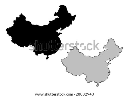 China map. Black and white. Mercator projection.