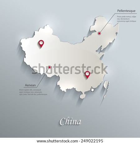 china map blue white card paper