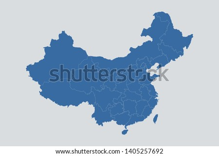 China map on gray background vector, China Map Outline Shape Blue on White Vector Illustration, Map of Asia. Symbol for your web site design map logo. app, ui, eps10.