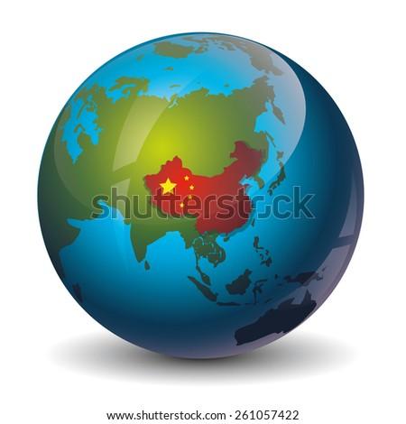 china on globe icon