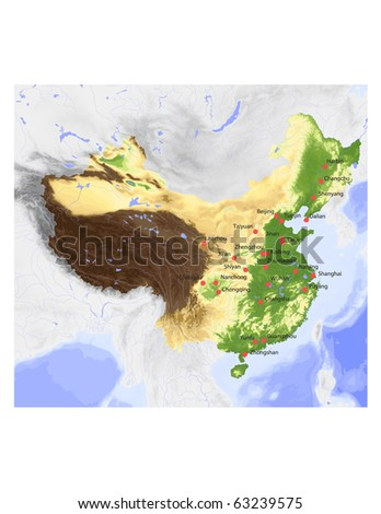 China. Physical vector map, colored according to elevation, with selected cities.  Surrounding territory greyed out. 73 named layers, fully editable.
