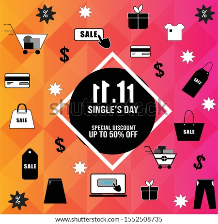 China 11.11 single's day sale concept, Year-end sale vector