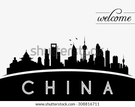 china skyline silhouette black