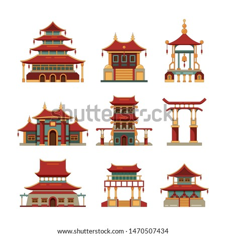 China traditional buildings. Cultural japan objects gate pagoda palace vector cartoon collection of buildings. Building palace, pagoda and traditional temple illustration