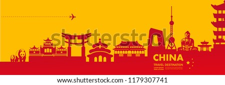 China Travel Destination Vector.