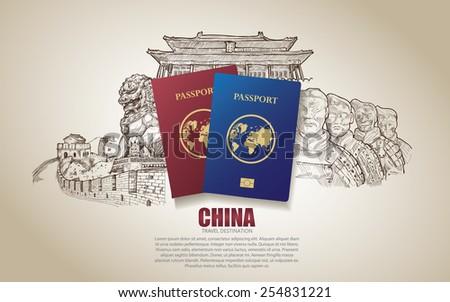 china travel poster hand drawn