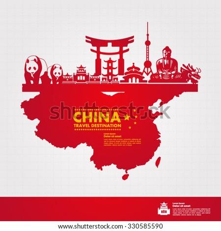 china travel vector illustration