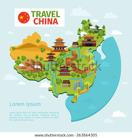 china travel vector map with