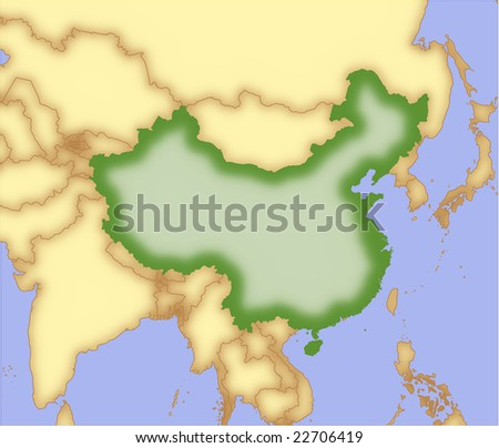 outline map of china and surrounding countries. stock vector : China, vector
