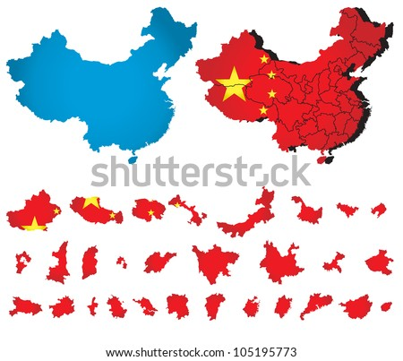 China vector map  with flag