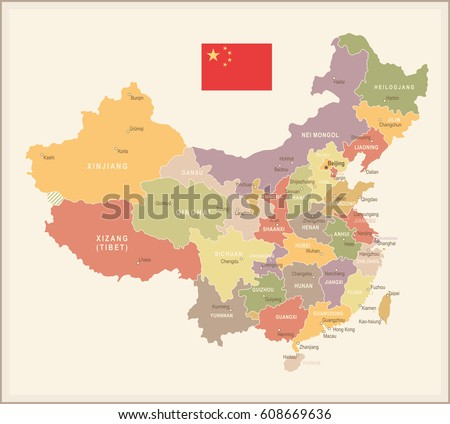 china vintage map and flag
