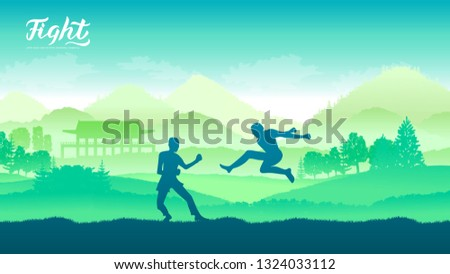China warriors martial arts of different Nations of the world. Traditional fights without weapons background. Fighting style battle template layout modern slider