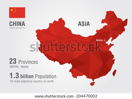china world map with a pixel