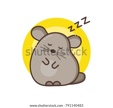 Chinchilla pet icon. Sleepy small animal, dozing. Cute cartoon line art with details. Modern flat style. Colored vector illustration isolated on white.