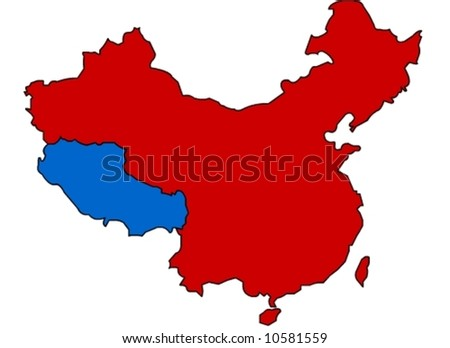 chine map with blue tibet