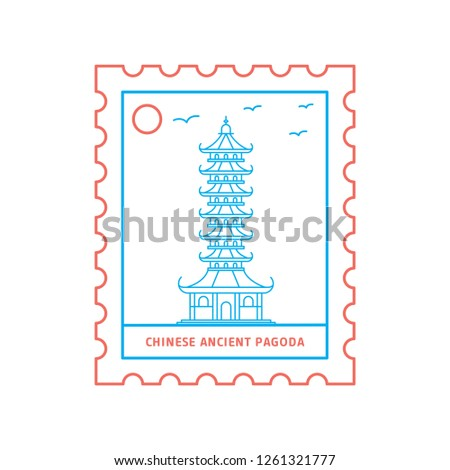 CHINESE ANCIENT PAGODA postage stamp Blue and red Line Style, vector illustration