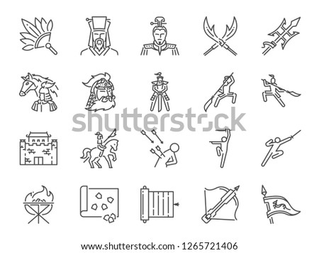chinese ancient war line icon