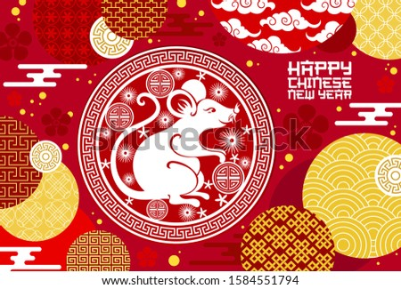 Chinese animal zodiac rat symbol with lucky coin vector design of Lunar New Year. Horoscope mouse with red and white papercut pattern of plum flowers and Asian clouds, Spring Festival greeting card