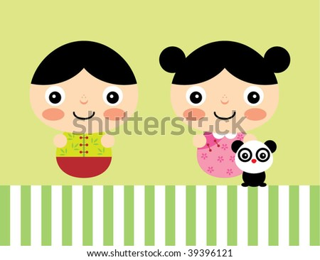 New year children chinese new year greetings boy and girl