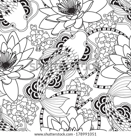 chinese carps seamless pattern