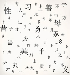 Chinese character background Translation: Gender,mother. Rest are all random chinese character parts with no actual meaning