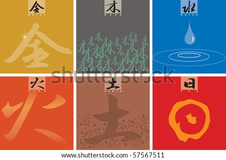 Chinese characters five elements (metal, wood, water, fire, earth). Plus one additional Chinese character â??Sunâ?�. This is vector illustration and easy to edit color.