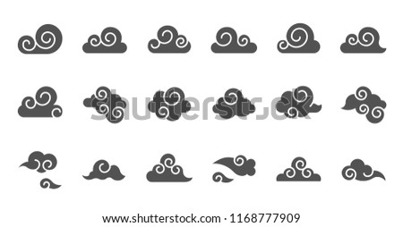Chinese Cloud icon raw material for use, glyph design