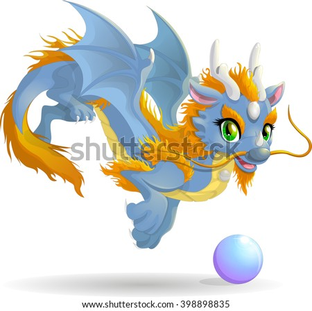 chinese cute blue dragon