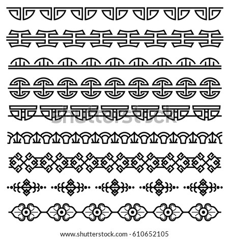 Chinese decoration, traditional antique korean pattern, vector asian seamless borders set. Korean border pattern, illustration of traditional oriental japanese pattern.
