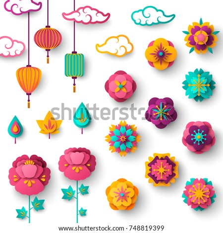 Chinese Decorative Icons, Clouds, Flowers and Chinese Lights in Modern 3d Paper cut style. Vector Illustration. Sakura, Peony Flowers. Chinese Lanterns.
