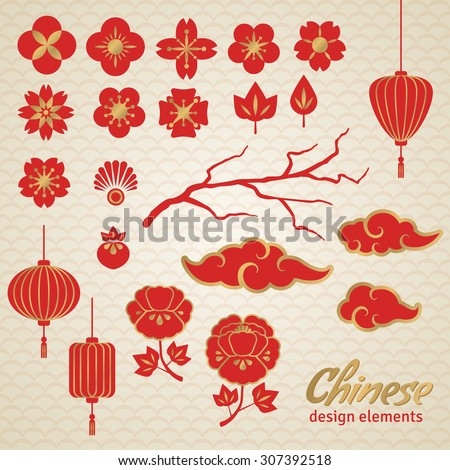 Chinese Decorative Icons, Clouds, Flowers and Lantern. Vector Illustration. Sakura Branch, Peony.