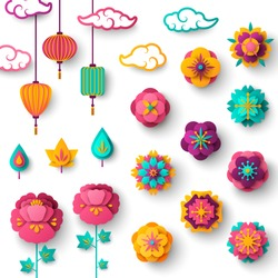 Chinese Decorative Icons, Clouds, Flowers and Lights in Modern 3d Paper cut style. Vector Illustration. Sakura, Peony and Lanterns.
