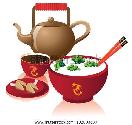 chinese dinner eps 8 vector